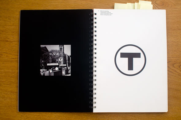 Spread; right page is a black and white graphic of a letter T in a circle, left page a black and white photo of the graphic as a sign in an outdoors setting