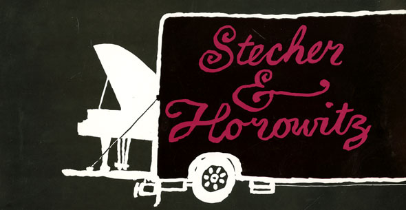 Black and white graphic of a piano poking out of the back of a moving van. The van is black with magenta text reading Stecher & Horowitz