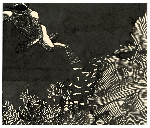 An etching of man swimming near some sea plants and small fishes.The water is drawn with a thick black marker but the streaks of the thick marker was precise enough to leave some of the paper untouched in order to form the small fishes. Th man and the sea plant are made thin black lines that curve in away to form the body and show different types of sea plants.