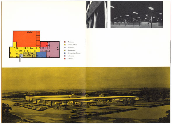 Color spread containing an outline design of a building and yellow photo of a building from above