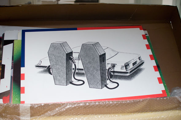 Black and white illustration of a car being refueled by a coffin
