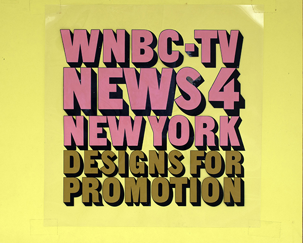 "Hand-lettered text on plastic film for ""WNBC-TV""."
