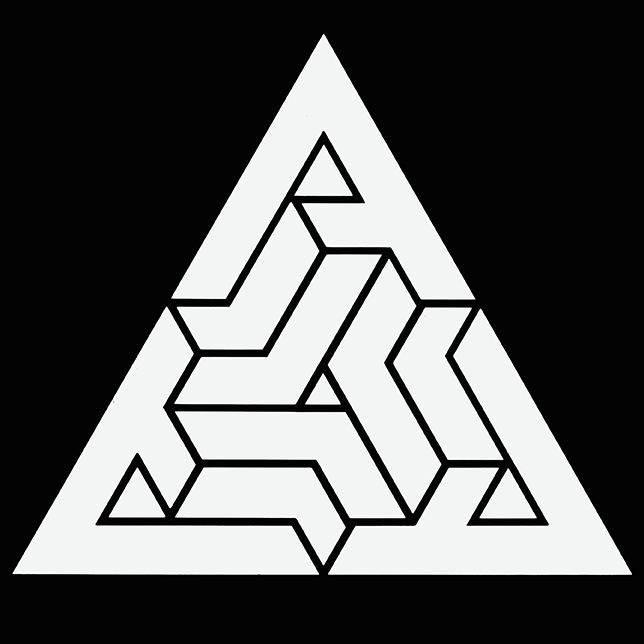 A triangle formed of three A's with contradictory perspectives