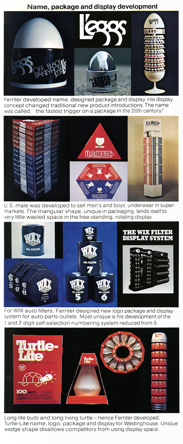 Three examples of Ferriter packaging design and how they fit into their display cases (L'eggs stockings, U.S. Male underwear, and Wix oil filters)