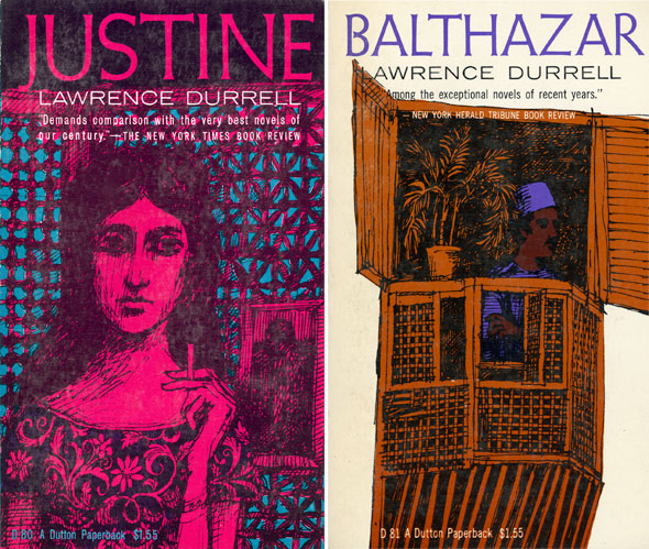 "A scan of two book covers; ""Justine"" and ""Balthazar"". ""Justine"" is a sketchy drawing of a woman in a floral blouse smoking. Her whole body and dress is magenta with the sketchy black drawing lines. The background is magenta with teal blue triangles and circles that form what looks like a wall with a window. ""Balthazar"" has a white background. In the middle is window porch that is a bronze orange. Inside is a man with brown skin ad a purple fez and shirt. They're outlined with a sketchy black line drawing."