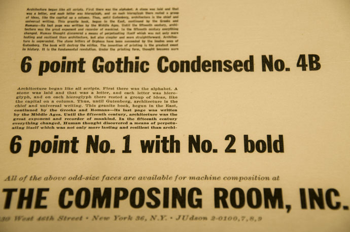 The Composing Room type specimens