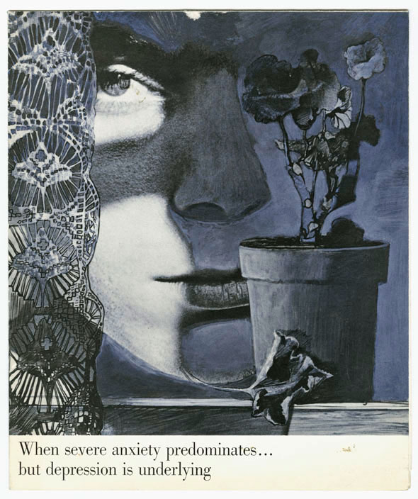 Black, grey and violet illustration of a woman's face, a lacy curtain and a flowerpot.