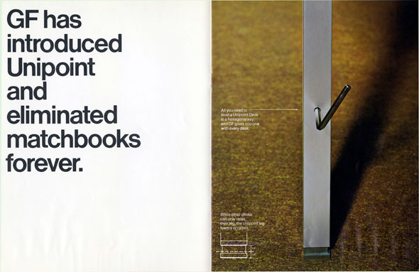 "Spread; left page is white with the text ""GF has introduced Unipoint and eliminated matchbooks forever"" in black; right page is a color photo of a metal beam with a handle sticking out of it upward"
