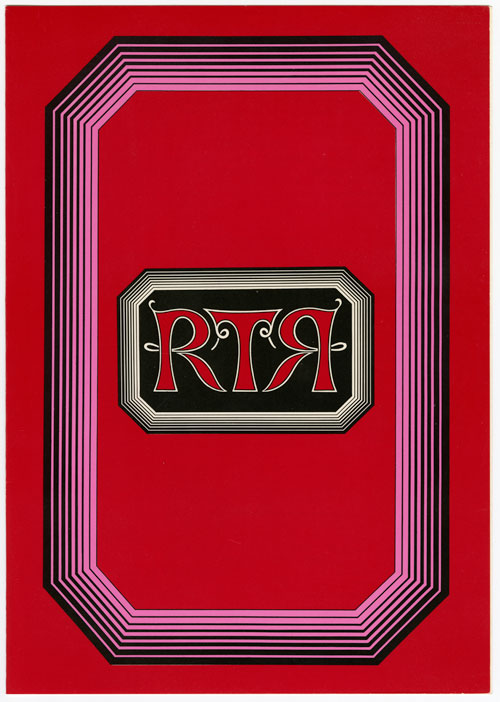 "A scarlet menu. A big vertical 'step cut' like shape is in the center. It has a black-magenta gradient stripe pattern. In the shape is a smaller horizontal 'step-cut' like shape that is a black to white gradient stripe pattern. Inside this shape is a black background. In the shape ""RTR"" is printed in scarlet with a line outline in a detailed lettering. The first R in ""RTR"" is backwards."