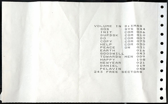 Image of a receipt on hole-punched perforated paper.
