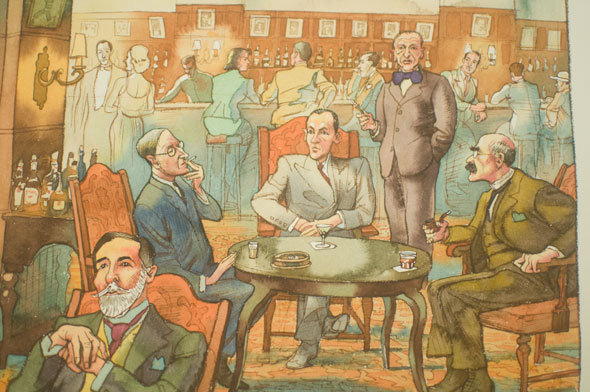 A photo of a watercolor illustration. It's in bar, filled with mostly men in suites. In the middle, is a table of sophisticated men drinking and smoking. In the background is the bar, men are hunched over drinking. Two are accompanied by women.  The bar is mostly a brow-orange hue with hints of blue and green.
