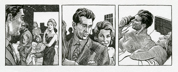 A comic strip of 3 illustrations. It's drawn with cross-hatched lines. The first image is man at party with several people, he's eyeing a lady in a dress who also looks back at him. The next image is of the man leading and talking to the lady who is in back of him smiling and very close to him. The last on is the man and the lady undressed on a bed. The man is answering a phone while the lady is laying down.