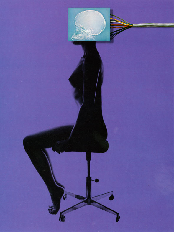 Black and purple photograph of a nude woman sitting on a chair getting her head x-rayed, showing a blue skull