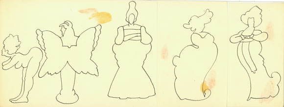 Simple contour-lined drawings of five figures. One is cloth-less, one shows their back wings, and three are posed in long dresses.