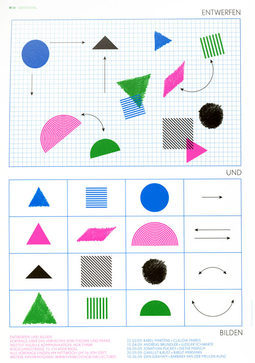 Blue, pink, green, and black geometric shapes against two blue and white grids.