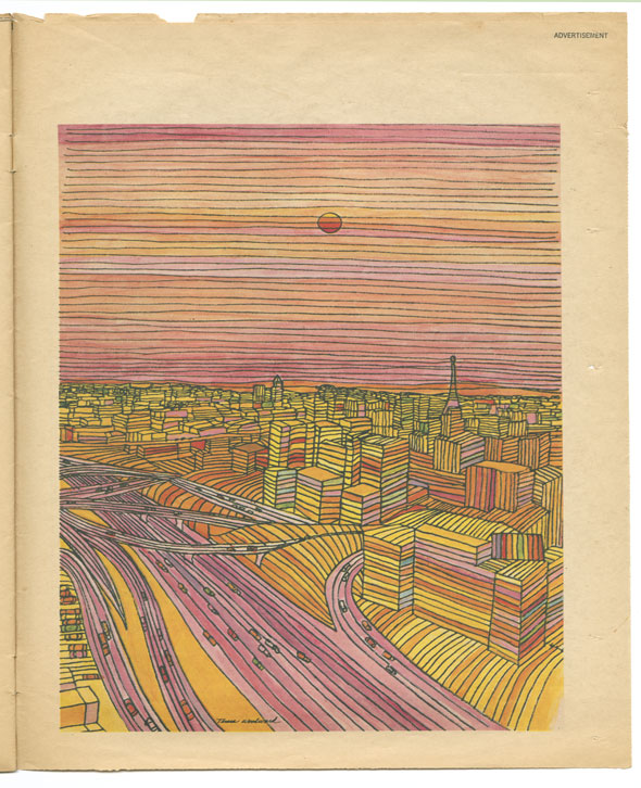 Colorful illustration of a cityscape viewed from above, and rendered with strips of color