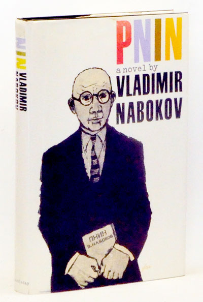 "A book cover titled ""Pnin, a novel by Vladimir Nabokov"", and a drawing of a bald man with round glasses, holding a book."
