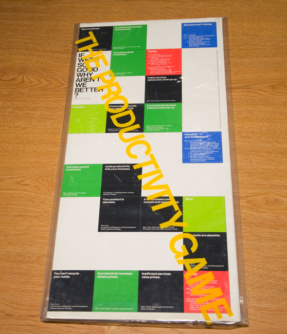 Folded-up colorful game board in plastic; The Productivity Game is written diagonally across in yellow