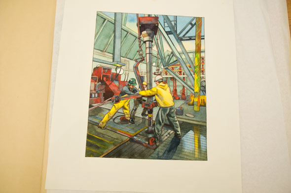A photo of a watercolor illustration. Its two men working in an industrial metal shop. The colors are vibrant, the yellow of the men's jacket and pants, and the bright rusty red of the machine pop. Everything else is a pastel green or blue.