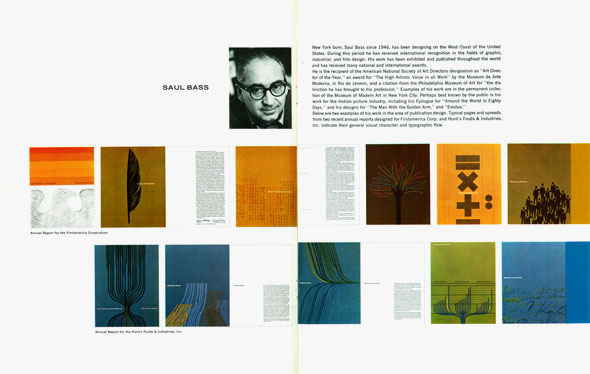 Grid of colorful images; one is a photograph of designer Saul Bass