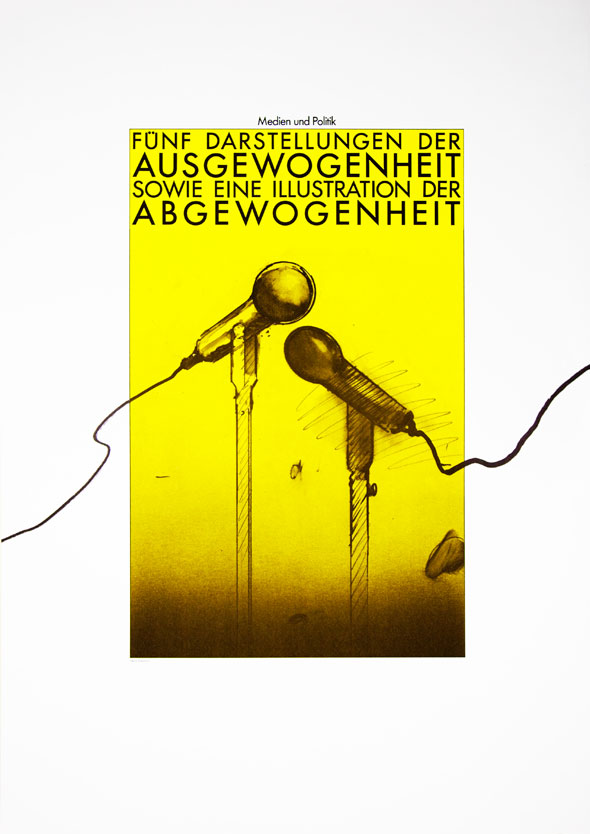 Black yellow and white illustration of two microphones under text