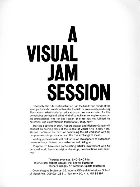 "Text in black against white background; header reads ""A Visual Jam Session"" in block letters"