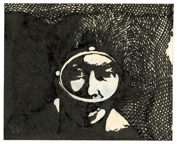 An etching of man underwater with a snorkeling eye gear. The etching is drawn with black ink. The detailed face and parts of the black water background is detailed with thin black lines.