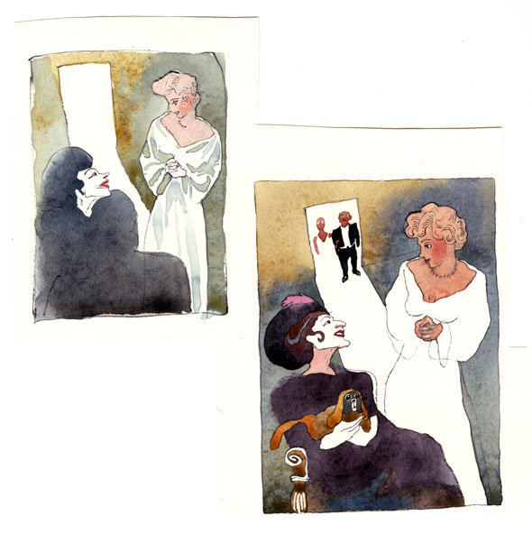 Sketch and finished watercolor painting of two women by a doorway; one is pale and old in fancy black clothing, seated, with a dog on her lap, the other is young with gold blonde hair and rosey cheeks standing, in a white dress, . A wedding couple is visible in the bright doorway in the background.