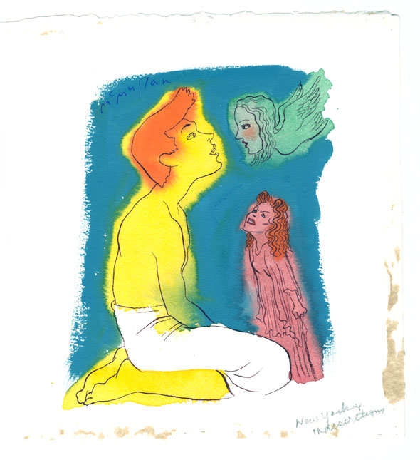 Wet on Wet, colorful watercolor painting of a kneeling man painted a bright yellow looking into the eyes of a woman painted teal with wings; a small, pink angry woman glares at him from below . They're on a empty blue background.