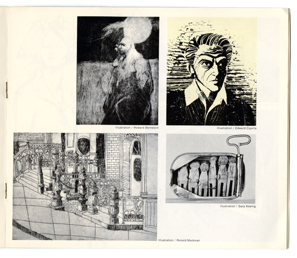 A photo of a page in a booklet.There are 4 black-and-white illustration made by students. Each one is a different style depicting different subjects.
