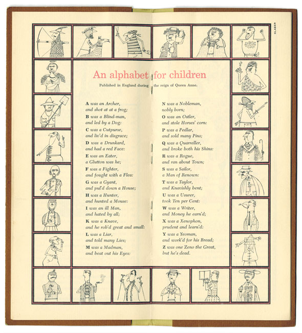 "A 2-page spread.  Square ink illustration of different people from didn't background border the pages. In the middle of the illustration square is "" An alphabet for children"" which is printed in red formal text. Underneath is the alphabet written in small regular text."