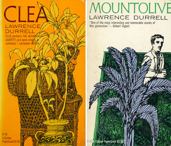 "A scan of two book covers; ""Clea"" and ""Mountolive"". ""Clea"" has a sunny orange background that is also used to color the sketch of a woman sitting on a straw weaved chair, she is hunched over leaning on her hand. Covering her is potted plant that is colored with a light yellow. ""Mountolive"" has a white background with an sketchy drawing of a emerald green rug with a fancy man standing on top. He is half covered by a leafy plant/."