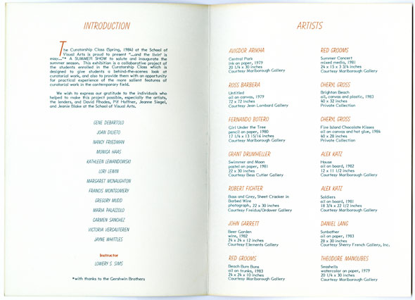 Spread containing column text and a list of artists in orange and blue ink against white