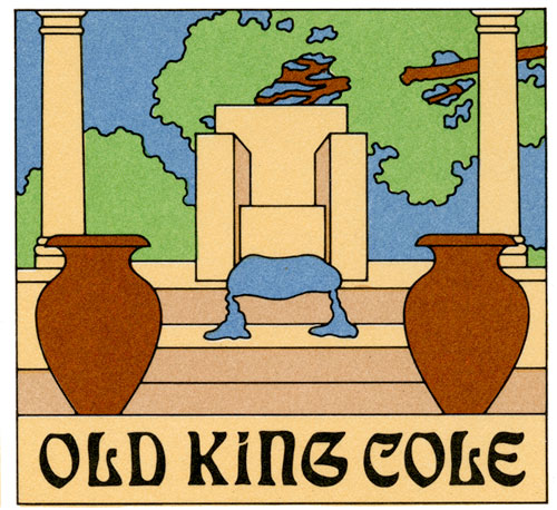 "The illustration of a menu. The illustration is flat colored scene of a small step of stairs leading up to marbled throne in the middle of two pillars and two brown vase in front of the stairs. Behind the throne is an open view of a blue sky and branched of a green tree. Laying on the floor in front of the throne is a light blue cloth is drapes down the stairs. Underneath this illustration is ""Old King Cole"" in a medieval-like black text."