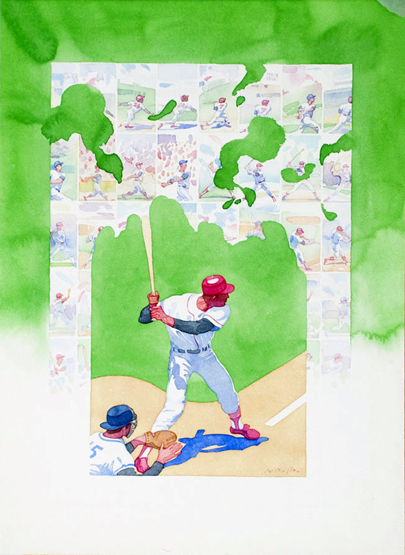 Watercolor poster of a baseball pitcher in a swinging position. Baseball bat trails into a coming-of-age sequence of a boy playing baseball.