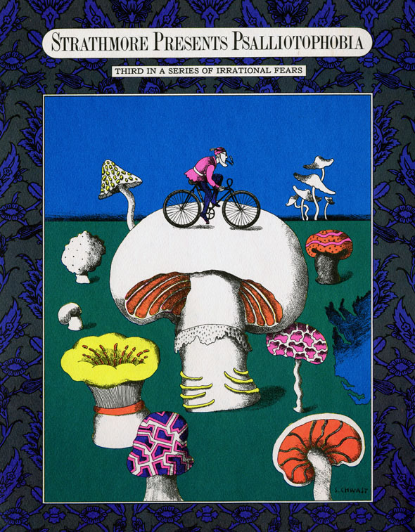 Illustrated poster of a man with a smoke-pipe, riding a bicycle on top of a large white mushroom. Varieties of mushrooms are spread across green flooring, and dark navy and green floral embroidery border the image.