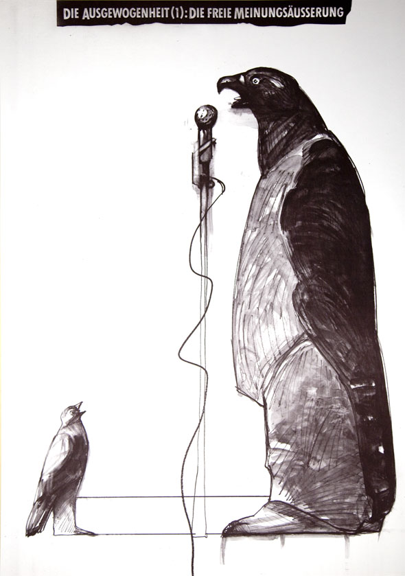 Black and white illustration of a large bird talking into a microphone while a small bird looks on