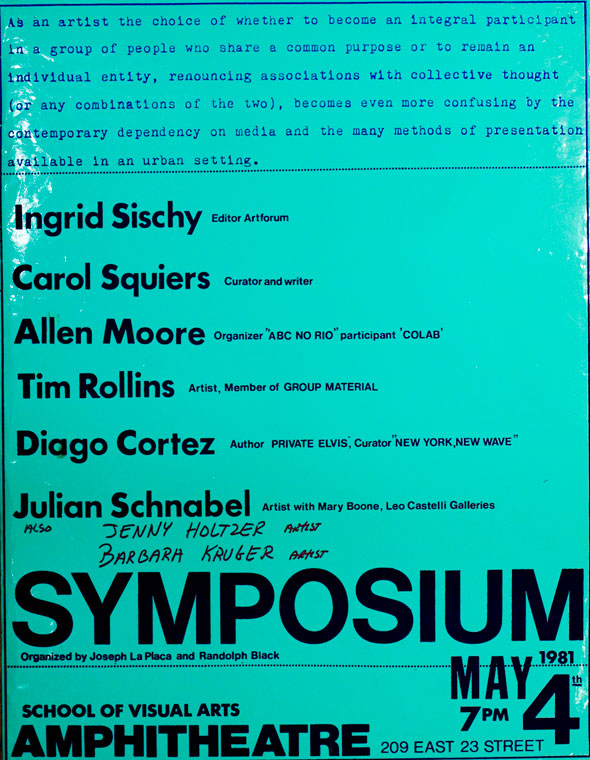 A flyer. Navy and black dense text against bright teal background. The information for the event  varies in font and size. A small description at the top is in a bright blue type writer font. Below in big bold navy text are the people who contributed in the event, next to each name in tiny text is their position. Below that is huge bold text is the name of the event along with the date and location.