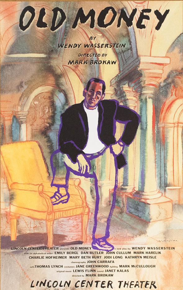 Watercolor illustration of a man posed with one foot on a yellow chair.