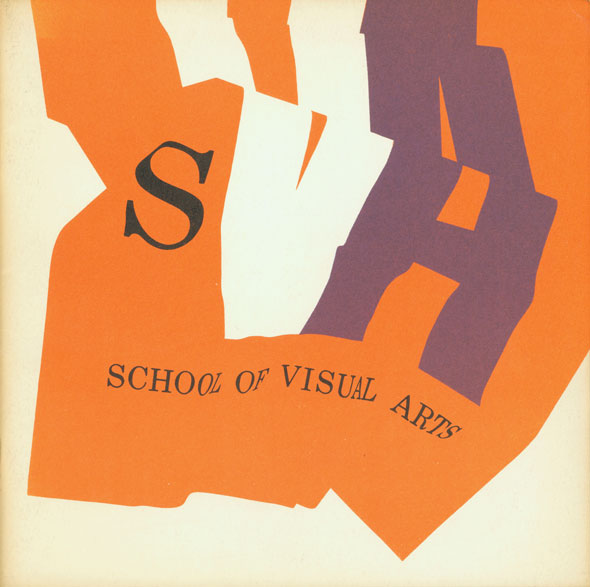 "A graphic design of the SVA typeface on a orange block crumpled to resemble fabric. The characters in SVA are different colors; black, white and purple, respectively.The ""VA"" is dramatically large compared to the ""S"" it's also a different font."