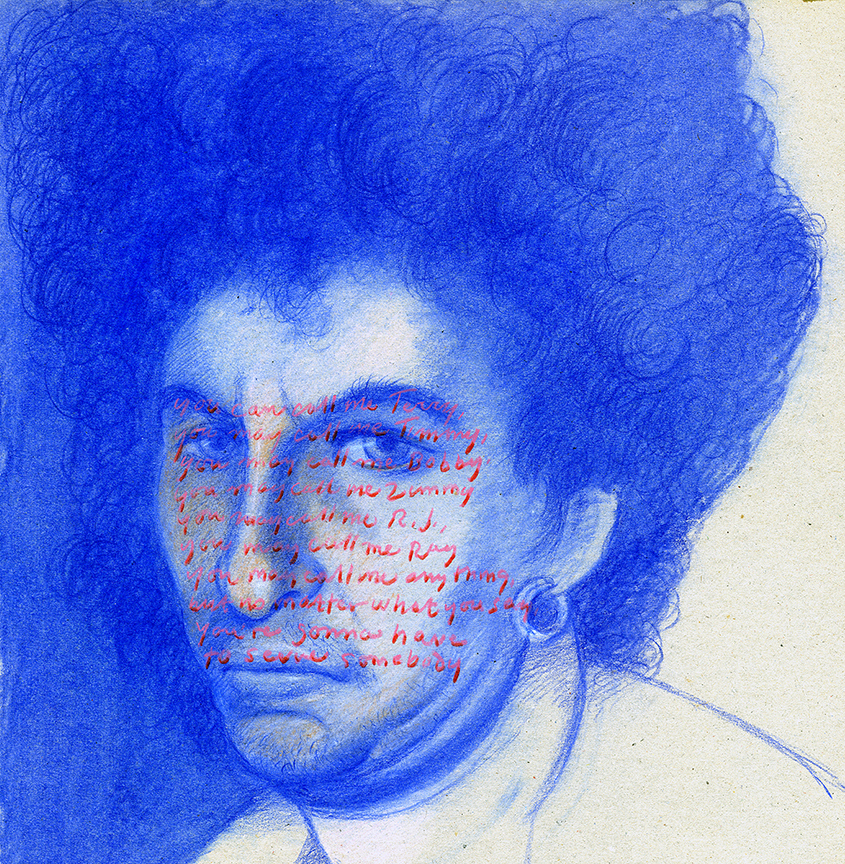 Portrait of Bob Dylan in blue