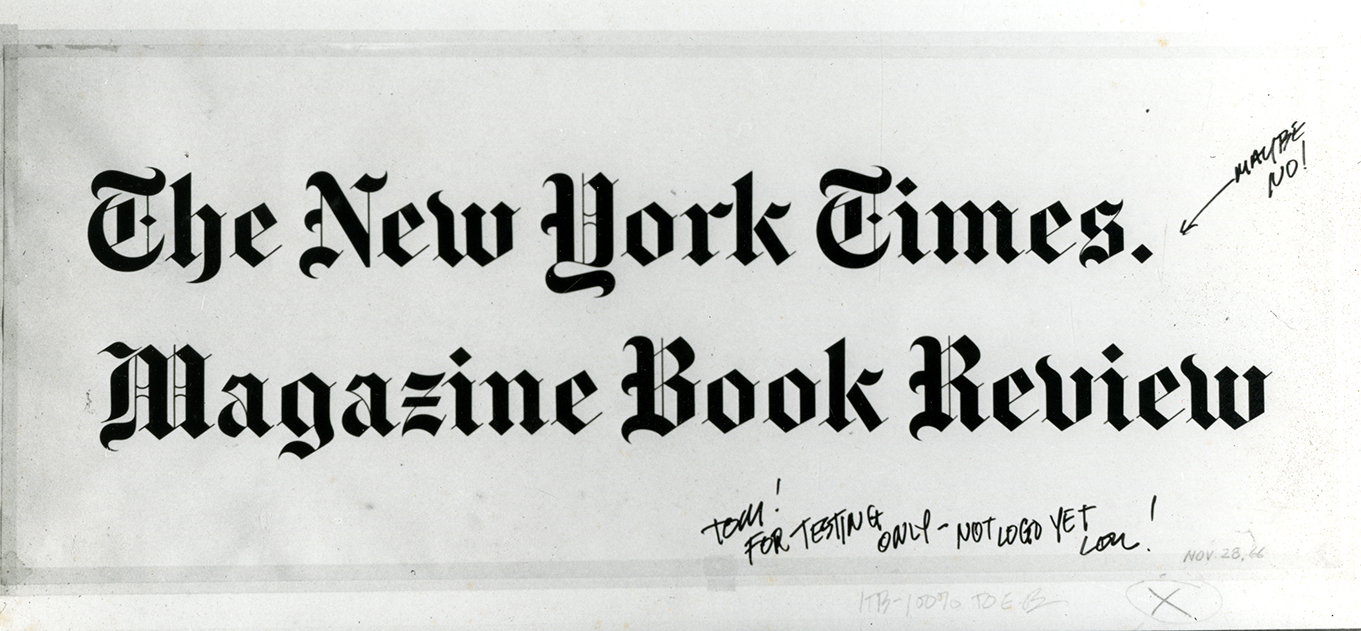 draft logotype for the new york times, the new york times magazine, and the new york times book review