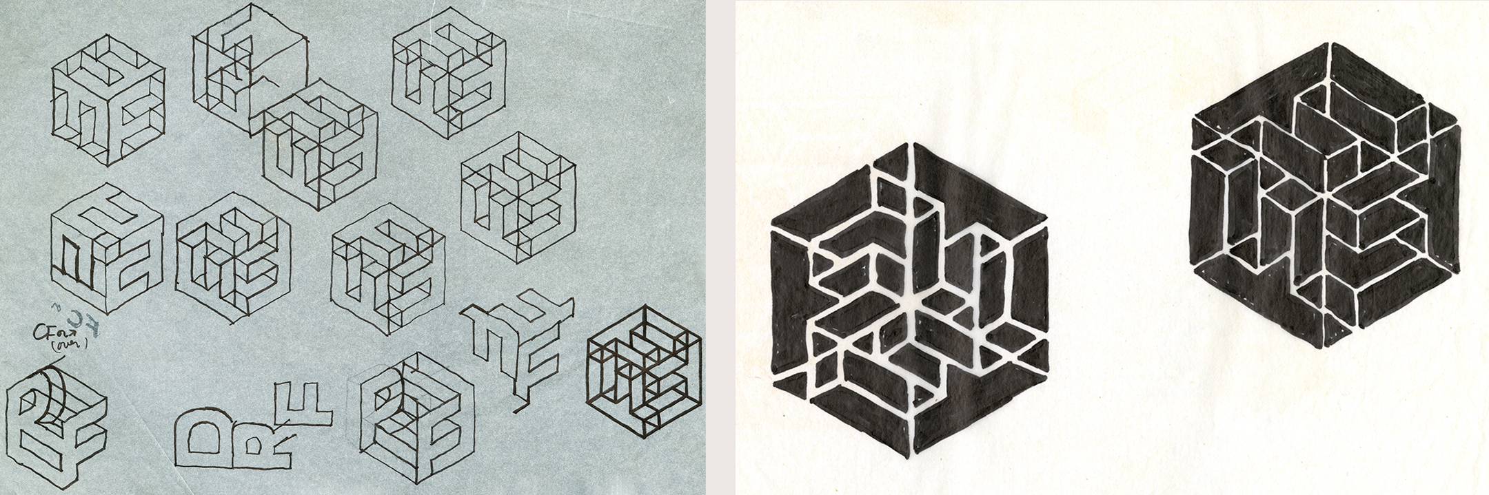 Early sketches of Ferriter's cube logo for his own design firm