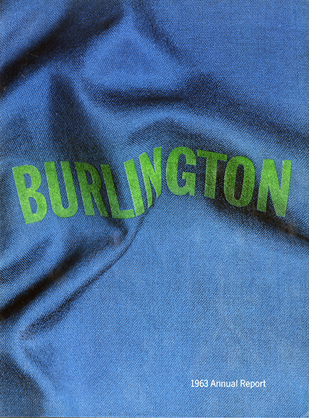 1963 annual report cover for Burlington, with the company name in green printing on a waving piece of blue fabric