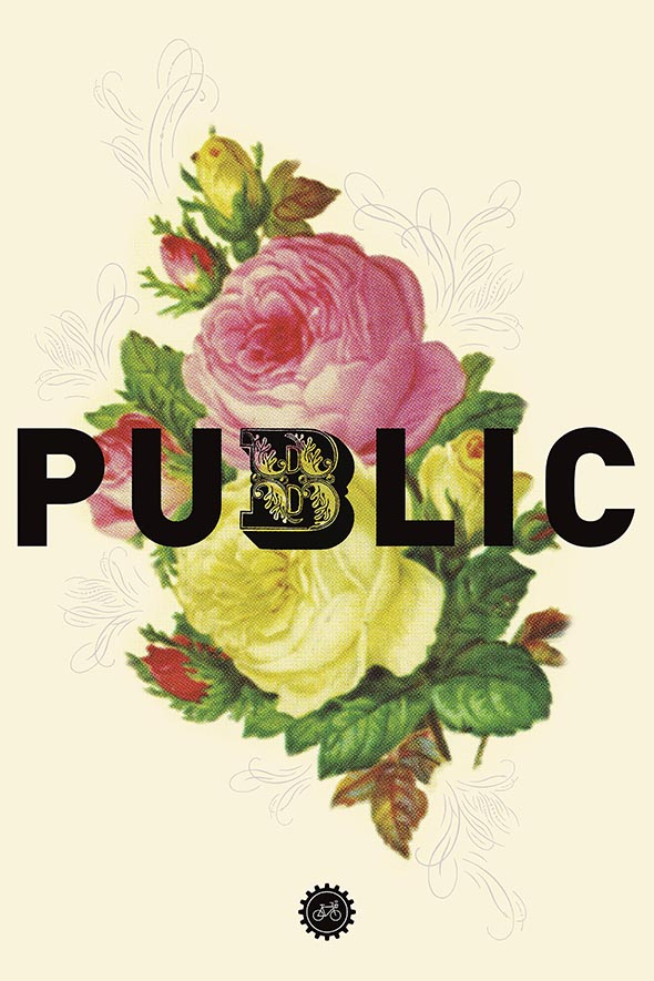 Flowers with the word Public superimposed on top