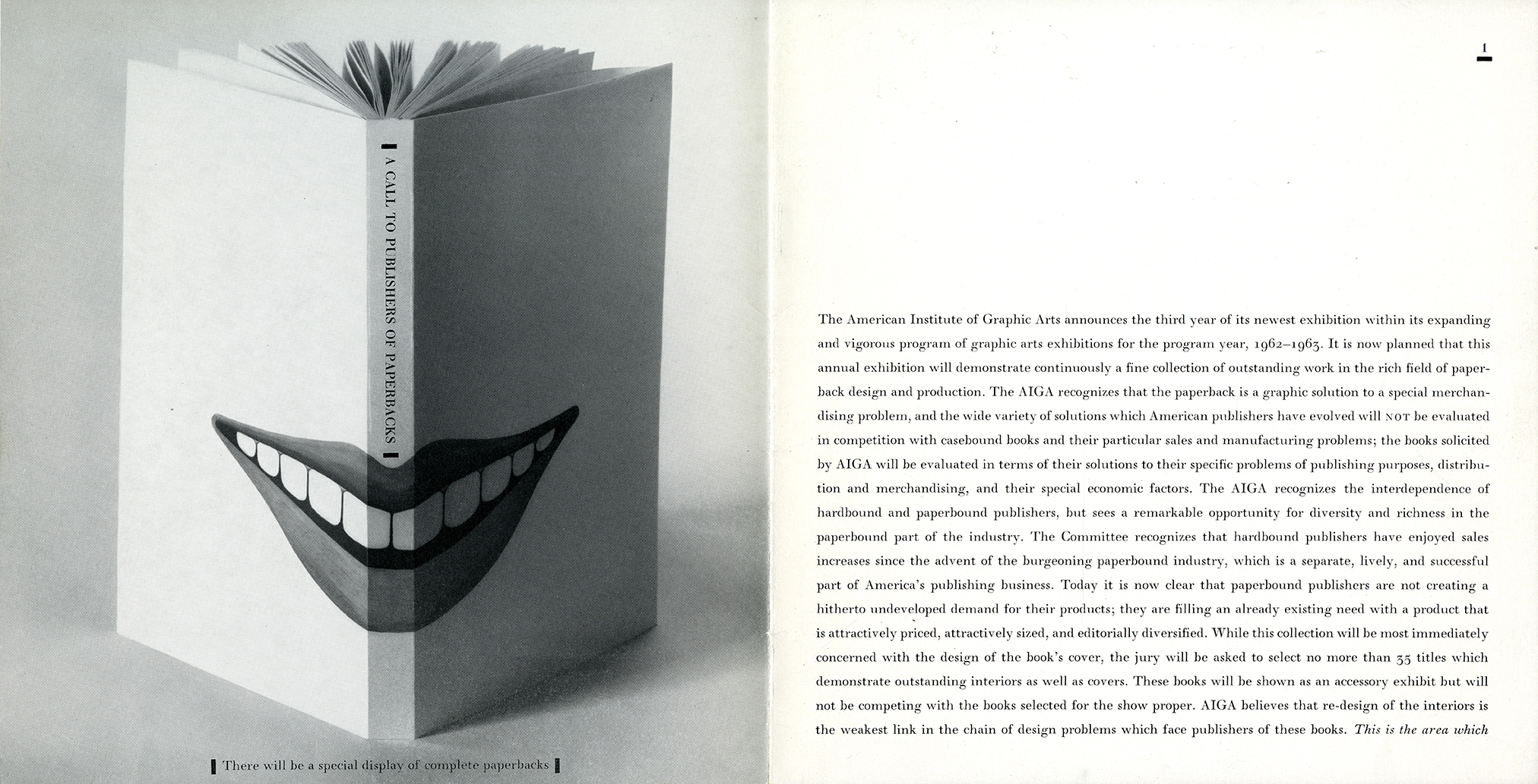 Book cover with open mouth spread across spine