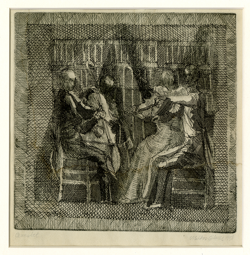 etching of four musicians