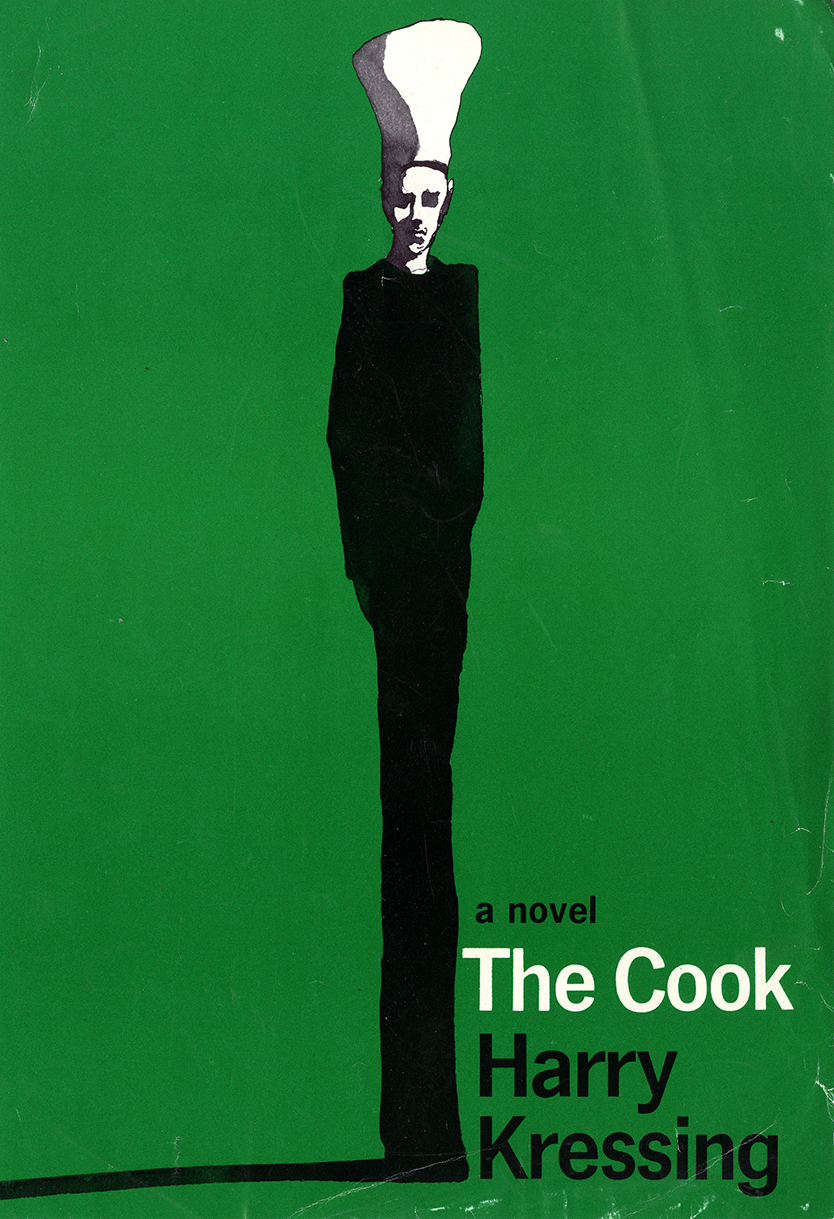 Book jacket for The Cook with extended Giacometti-like black ink figure with chef's hat on a bright green background.