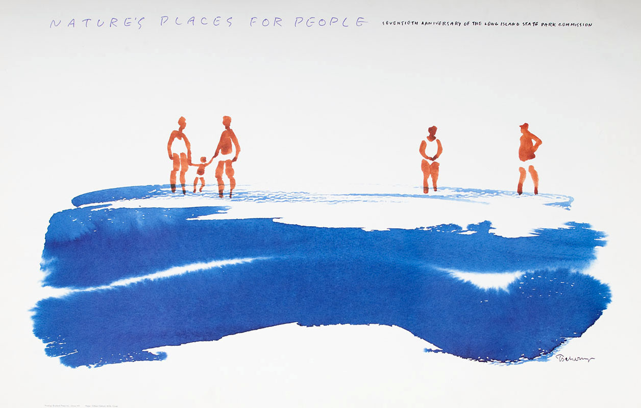 Poster with white background and blue watercolor water and brown gestural figures wading in the water.