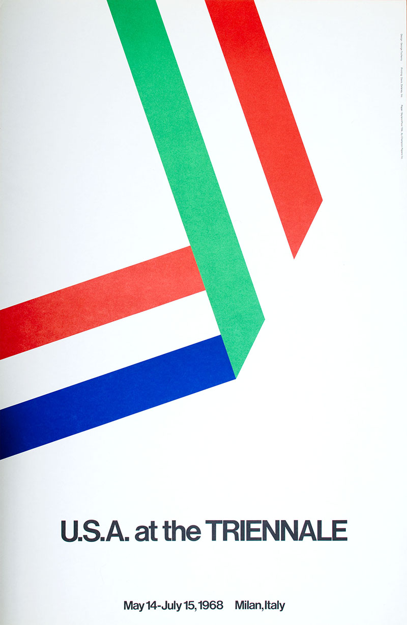 Poster with white background and folded ribbon representing colors of both the US and Italian flags.